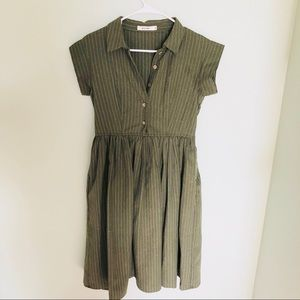 Olive green dress with button up front